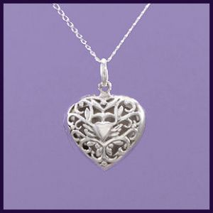 Purple Enchantments - Small Sterling Silver Filigree Heart Locket